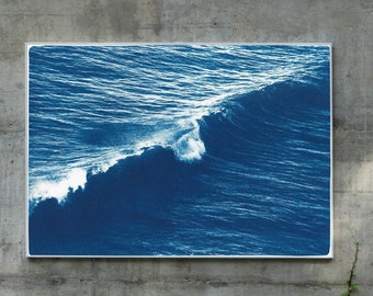 Long Wave in Venice Beach / Cyanotype on Watercolor Paper / 2020