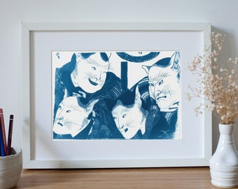 Japanese Kabuki Actors with Cat Masks Cyanotype Print, Traditional Ukiyo-e Japanese Art, Asian Wall Art, Oriental Decor, Japan Lover