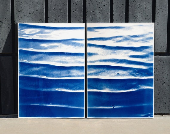 "Diptych ""Japanese Zen Pond Ripples ""/ Handprinted Cyanotype on Watercolor Paper / Limited Edition (only 20) / 100 x 140 cm"