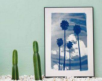 Miami Palm Sunset /  Handmade Cyanotype Print / 50x70cm / Limited Edition