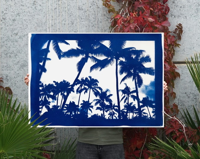 """""""Acapulco Palm Sunset"""" with Blue Border/ Hand-Printed Cyanotype on Watercolor Paper / 70x100cm / Limited Edition"""