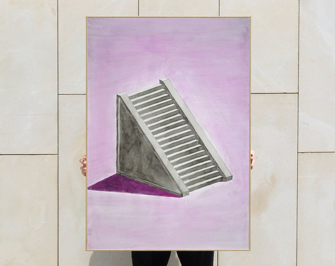 Minimal Mayan Staircase / Watercolor on Paper / 100x70 cm