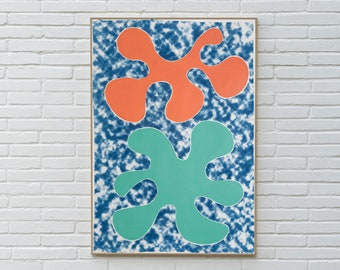 Orange and Green Tropical Splashes, Mixed Media Painting on Cyanotype, Minimal Abstract Shapes for a Contemporary House, Organic Modern Art
