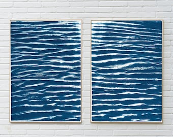 Tranquil Water Patterns Seascape / Cyanotype on Watercolor Paper / 100x 140 cm / Limited Edition
