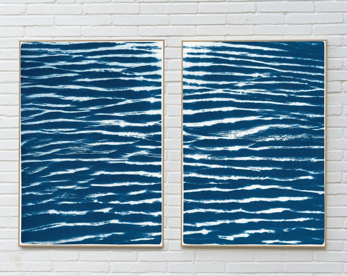 Featured listing image: Tranquil Water Patterns Seascape / Cyanotype on Watercolor Paper / 100x 140 cm / Limited Edition