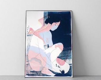 Woman After a Bath / Handmade Sumi Marbling on Cyanotype Print / 2021