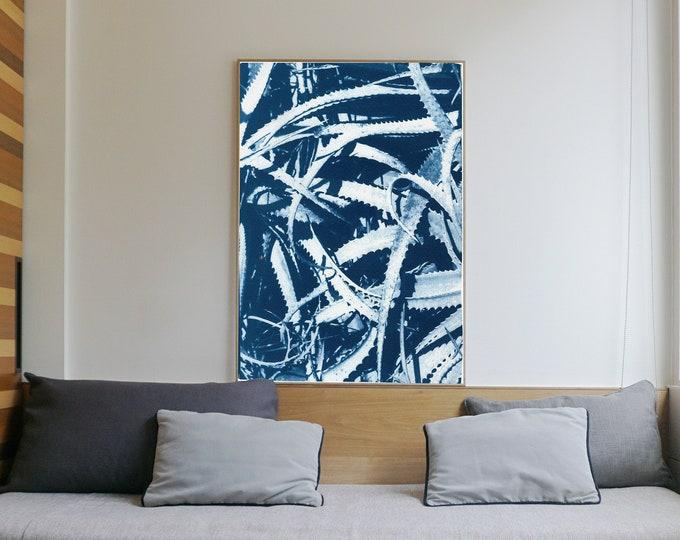 Aloe Leaf Jungle / Handmade Cyanotype on Watercolor Paper / 2021