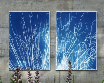 Firework Lights / Cyanotype Diptych on Watercolor Paper / Limited Edition