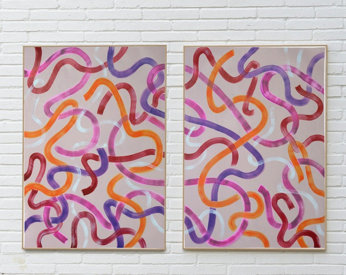 Warm Abstract Strokes on Gray / Original Diptych / 2020