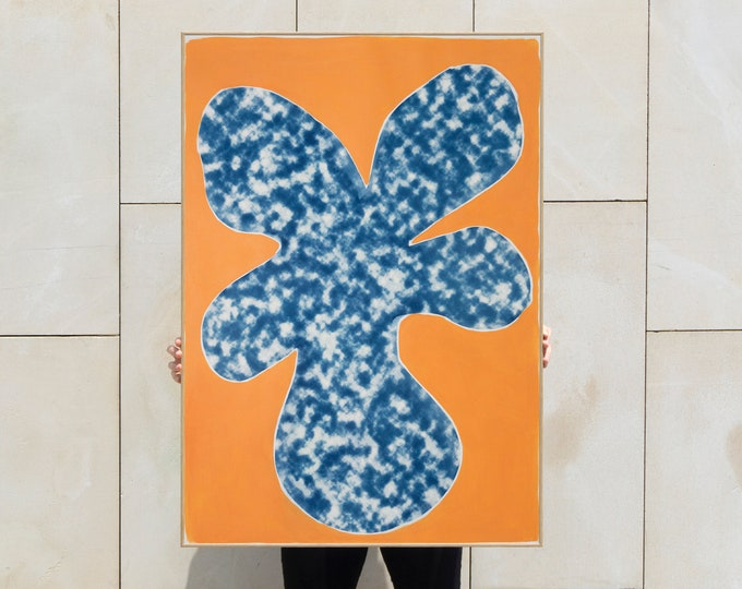 Orange Tropical Tree Cutout / Acrylic Painting on Cyanotype Print / 2020