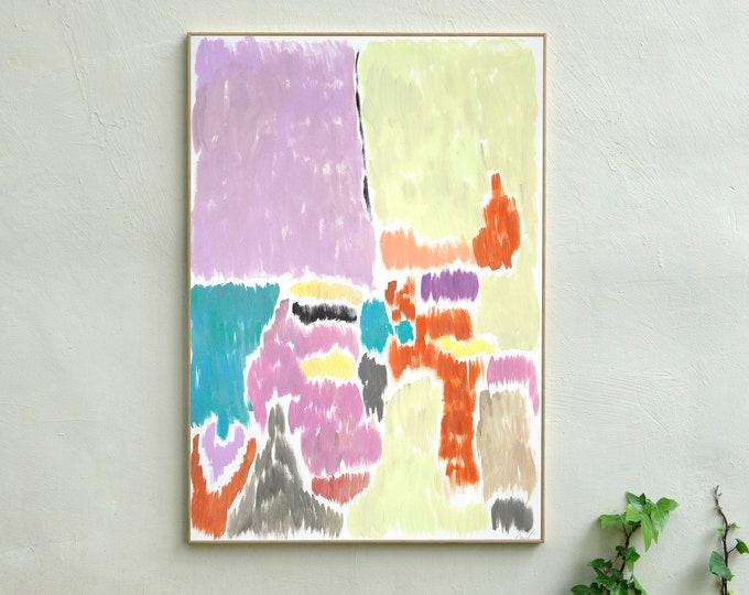 Pistachio and Mauve Blurry Interior / Acrylic on Paper / 100x70 cm