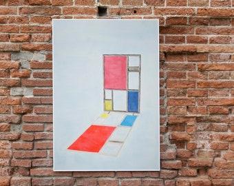Mondrian Screen Divider / Watercolor on Paper by Ryan Rivadeneyra