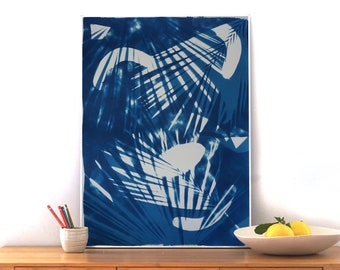 Tropical Palm Leaf Shades / Photogram Cyanotype / Unique