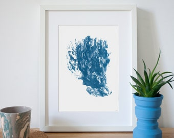Soft Coral Handmade Cyanotype Print on Watercolor Paper, Coral Prints, Beach Wall Art, Trending 2019, Coastal Decor, Coral Reef, Organic Art