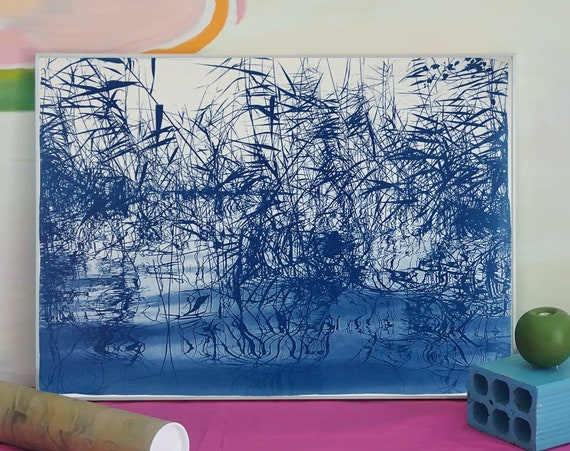 "Cyanotype of ""Mystic Louisiana Marsh"" / 50x70cm / Made on Watercolor Paper / Limited Edition"