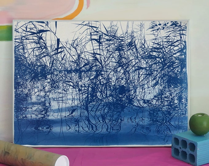 """Cyanotype of """"Mystic Louisiana Marsh"""" / 50x70cm / Made on Watercolor Paper / Limited Edition"""