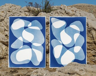 Blue Duo of Transparent Shapes / Monotype - Cyanotype Diptych on Watercolor Paper / 2020