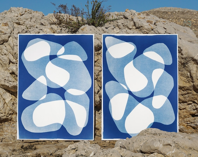 Featured listing image: Blue Duo of Transparent Shapes / Monotype - Cyanotype Diptych on Watercolor Paper / 2020