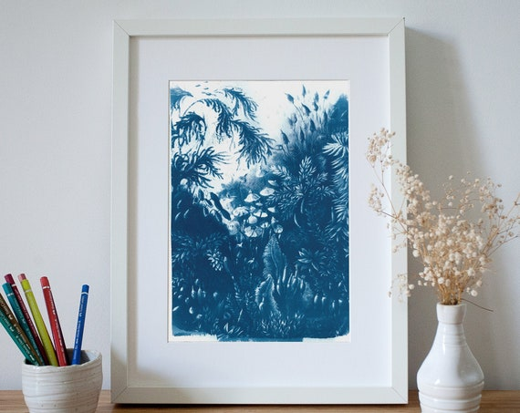 Vintage Botanical Plant Cyanotype on Watercolor Paper, Floral Art, Botany, Ernst Haeckel, Spring Decor, Handmade Gift, Pressed Flowers Art
