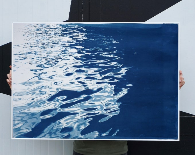 Featured listing image: Black Sea Rhythms / Cyanotype Print on Watercolor Paper / 100x70cm / Limited Edition