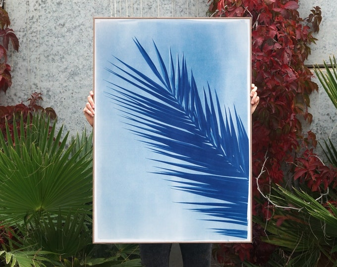 Palm Leaf Over Blue Sky / Cyanotype Print on Watercolor Paper / Limited Edition