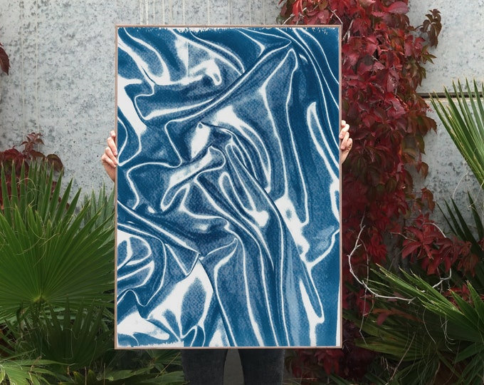 Featured listing image: Classic Blue Silk Movement n2 / Cyanotype on Watercolor Paper / 100x70cm / Limited Edition