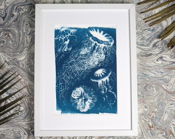 Handmade Blue Jellyfish Cyanotype Print on Watercolor Paper, Limited Edition