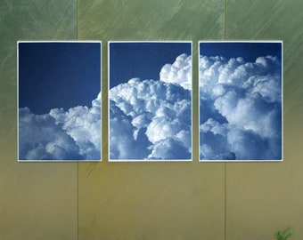 Looking Into The Clouds / Handmade Cyanotype Triptych on Paper / Limited Edition