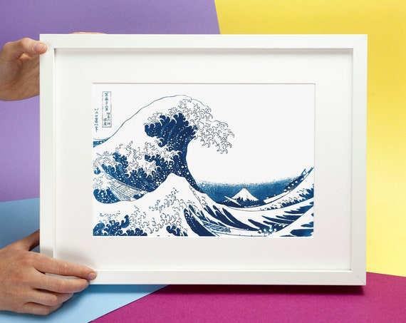 The Great Wave by Hokusai, Cyanotype Print