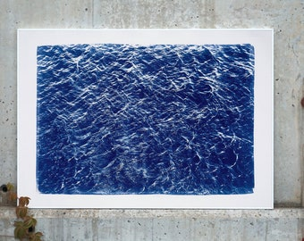 Handprinted Cyanotype: Pacific Ocean Currents / 100x70cm / Limited Edition /