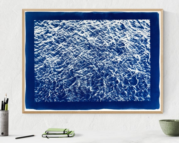 Wave Texture Seascape / Cyanotype Print on Watercolor Paper / 50x70 cm / Limited Edition