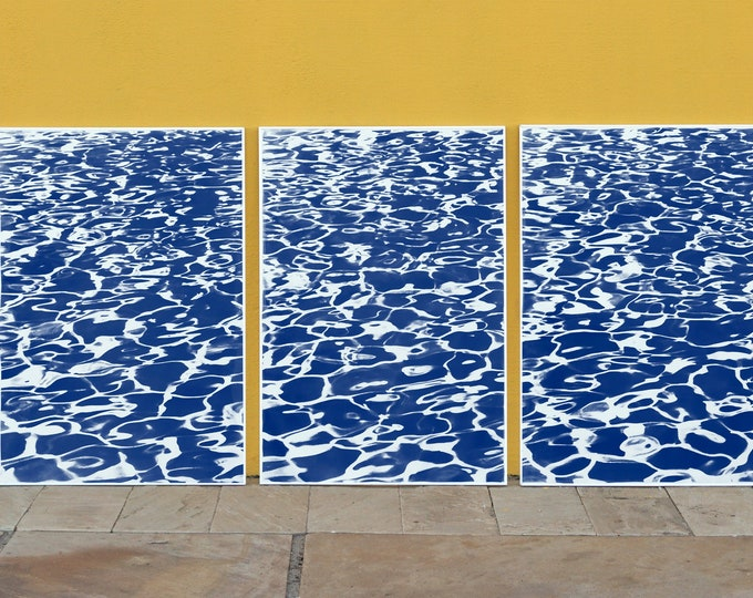 """Triptych """"Fresh California Pool Patterns"""" / Cyanotype on Watercolor Paper / 100x210 cm / Limited Edition"""