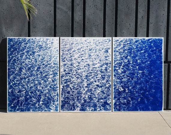 """Triptych """"French Riviera Cove"""" / Cyanotype on Watercolor Paper / Limited Edition / 100 x 210 cm"""