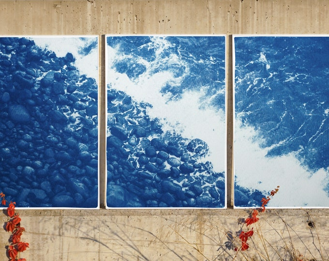 British Pebble Beach / Cyanotype Triptych on Watercolor Paper / 100 x 210 cm / Limited Edition
