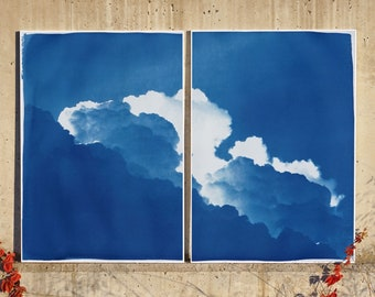 Yves Klein Clouds Diptych / Cyanotype on Watercolor Paper / 100x140 cm / Edition Size of 20