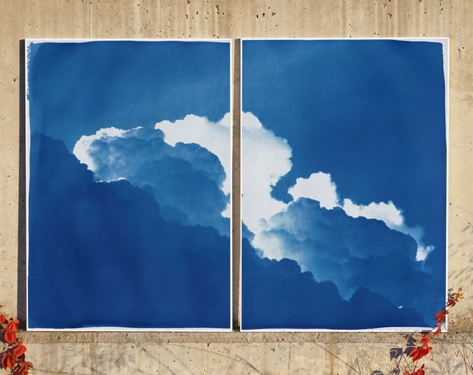 Featured listing image: Yves Klein Clouds Diptych / Cyanotype on Watercolor Paper / 100x140 cm / Edition Size of 20