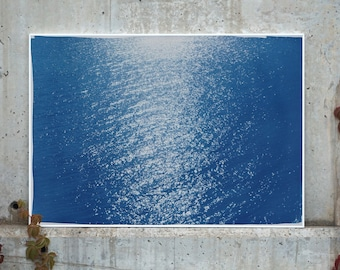 Tuscany Sea Reflections / 100x70 cm / Cyanotype on Watercolor Paper / Limited Edition