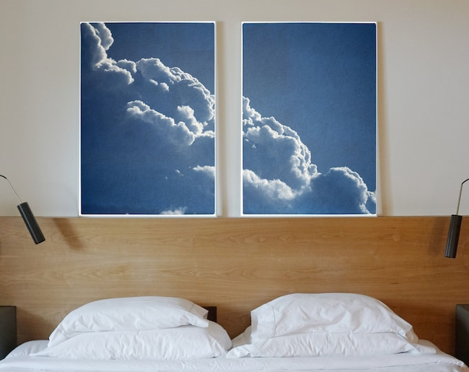 Floating Clouds Diptych / Cyanotype Print on Watercolor Paper / 2021