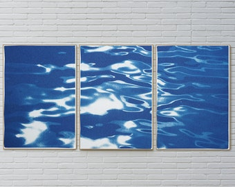 Reflections off Lido Island, Venice Lagoon Cyanotype Print in White and Blue, Limited Edition, Nautical Triptych, Iconic City Seascape