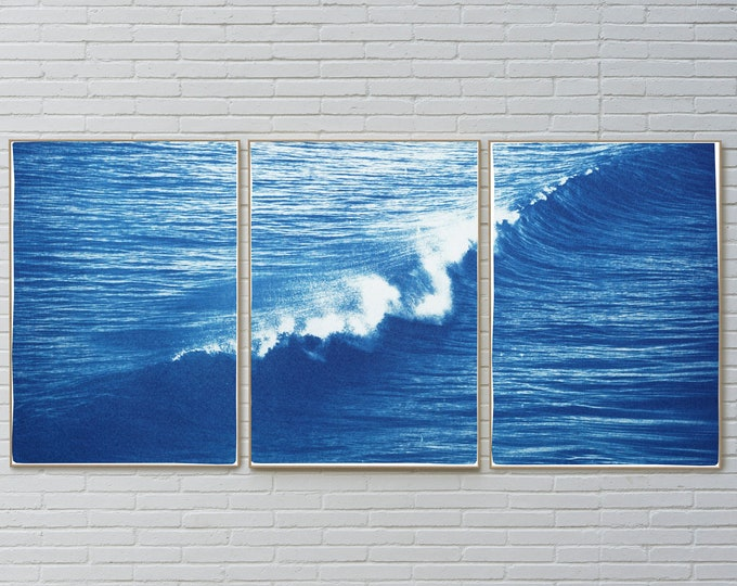 Featured listing image: Los Angeles Crashing Wave / Cyanotype on Watercolor Paper / Limited Edition