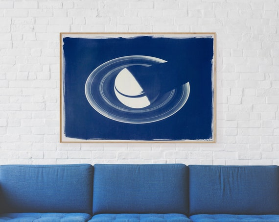 Large Cyanotype Print (70x100cm), Saturn with Rings, on Watercolor Paper. Limited Edition