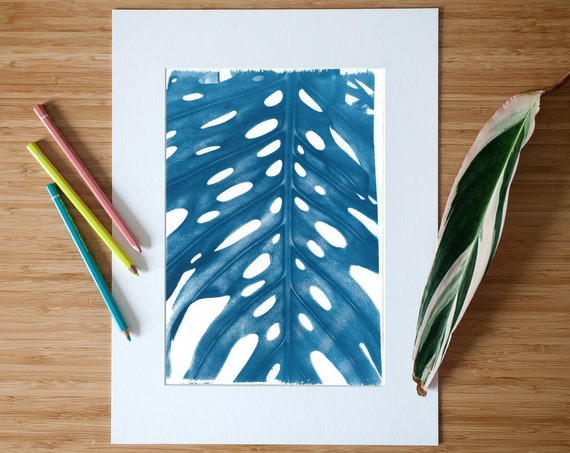 Cyanotype Print Fruit Salad Plant on Watercolor Paper, Limited Edition