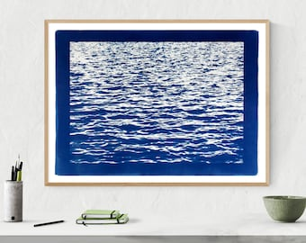 """Mediterranean Blue Sea Wave"" with Blue Border /  Cyanotype Print /  50x70 cm (Limited Edition)"
