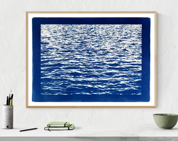 Blue Waves Seascape With Blue Border /  Cyanotype Print /  50x70 cm (Limited Edition)