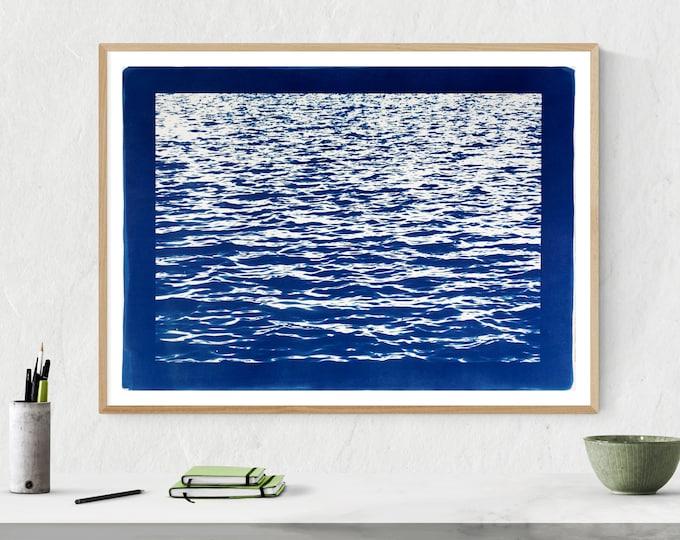 """Mediterranean Blue Sea Wave"" with Blue Border /  Cyanotype Print /  50x70 cm (Limited Edition)"