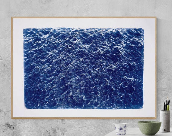 "100x70 cm, Handprinted Cyanotype Print ""Waves Sea Texture"" on Watercolor Paper. Limited Edition"