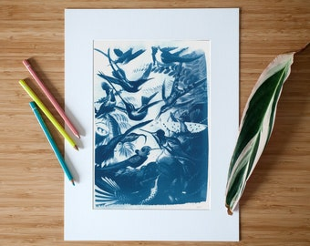 Limited Edition Cyanotype Print showing a Botanical Scene with Wild Birds, Handmade on Watercolor Paper