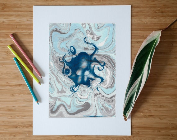 """Octopus"" Marbling and Cyanotype Print on Watercolor Paper, Handmade"