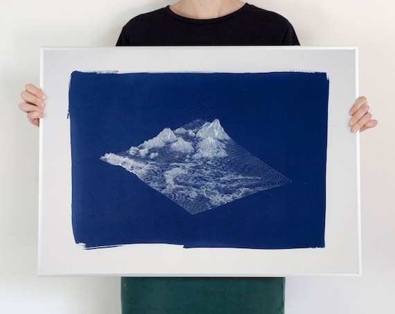 Digital Mountain Landscape Render, Large Cyanotype Print, 50x70 cm, Mountain House, Cabin Decor, Lake House Decor, Hand Printed, Handmade