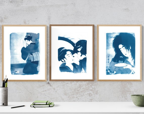 Set of three Beautiful Japanese Ukiyo-e Cyanotype Prints / Limited Edition